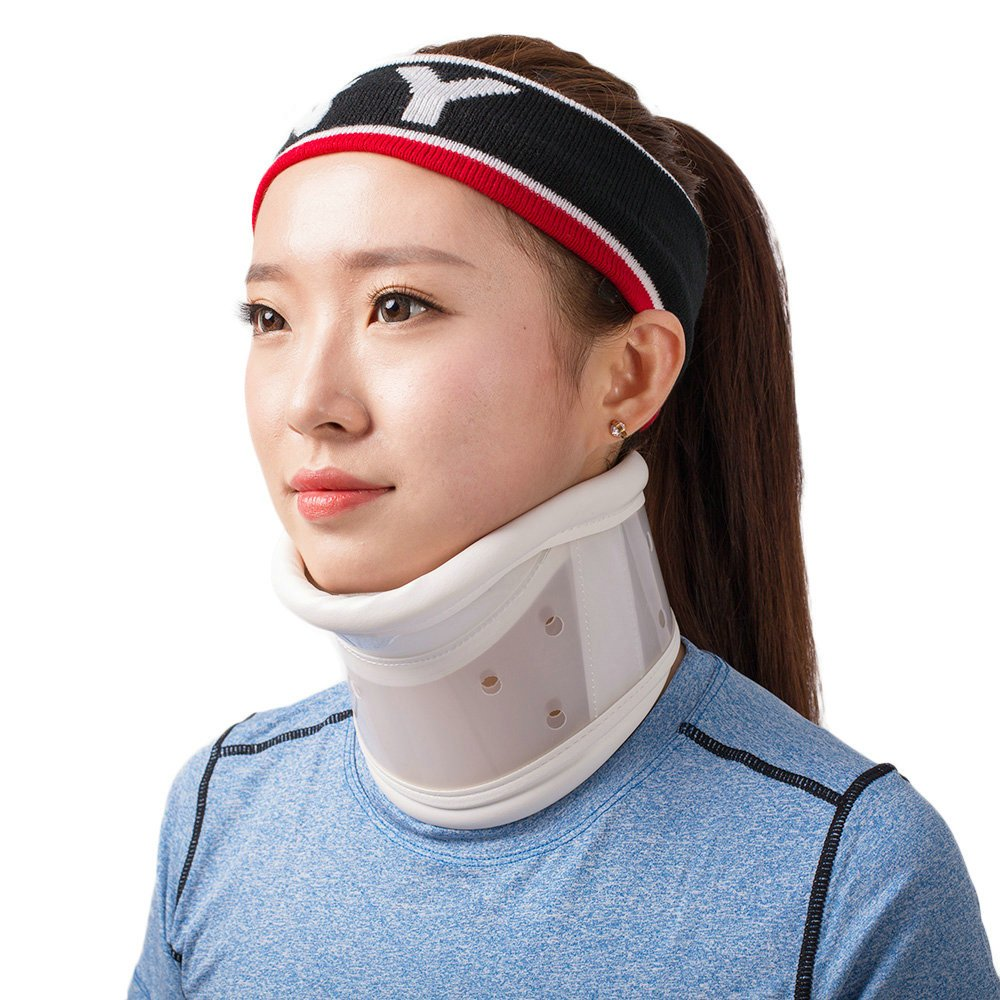 Rigid Plastic Cervical Collar with Chin Support Traction Device Brace Support for Neck Support, Neck Pain Relief, and Stabilization to Aid in Recovery After Neck Surgery Or Injury Size XL