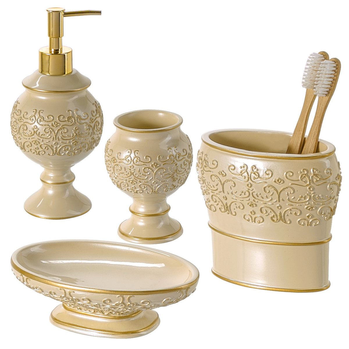Shannon Bathroom Accessories Set, 4-Piece Bathroom Gift Set Features ...
