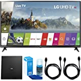 """LG 49UJ6300 49"""" UHD 4K HDR Smart LED TV (2017 Model) w/ Indoor Antenna Bundle Includes, Terk Indoor Flat 4K HDTV Multi-Directional Antenna, 2x 6ft HDMI Cable and LED TV Screen Cleaner"""