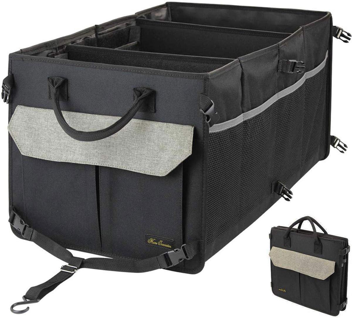langlebig und waschbar f/ür Auto Faltbarer Kofferraum f/ür LKW-Ladungen mit No-Slip Streifen Home Innovation KofferraumOrganizer mit 3 F/ächern und 9 Taschen Khaki SUV und mehr