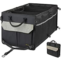 Washable Car Trunk Organizer with 9 Pockets - 3 COMPARTMENTS Collapsible Car Truck Cargo Storage with Non-Slip Stripes…