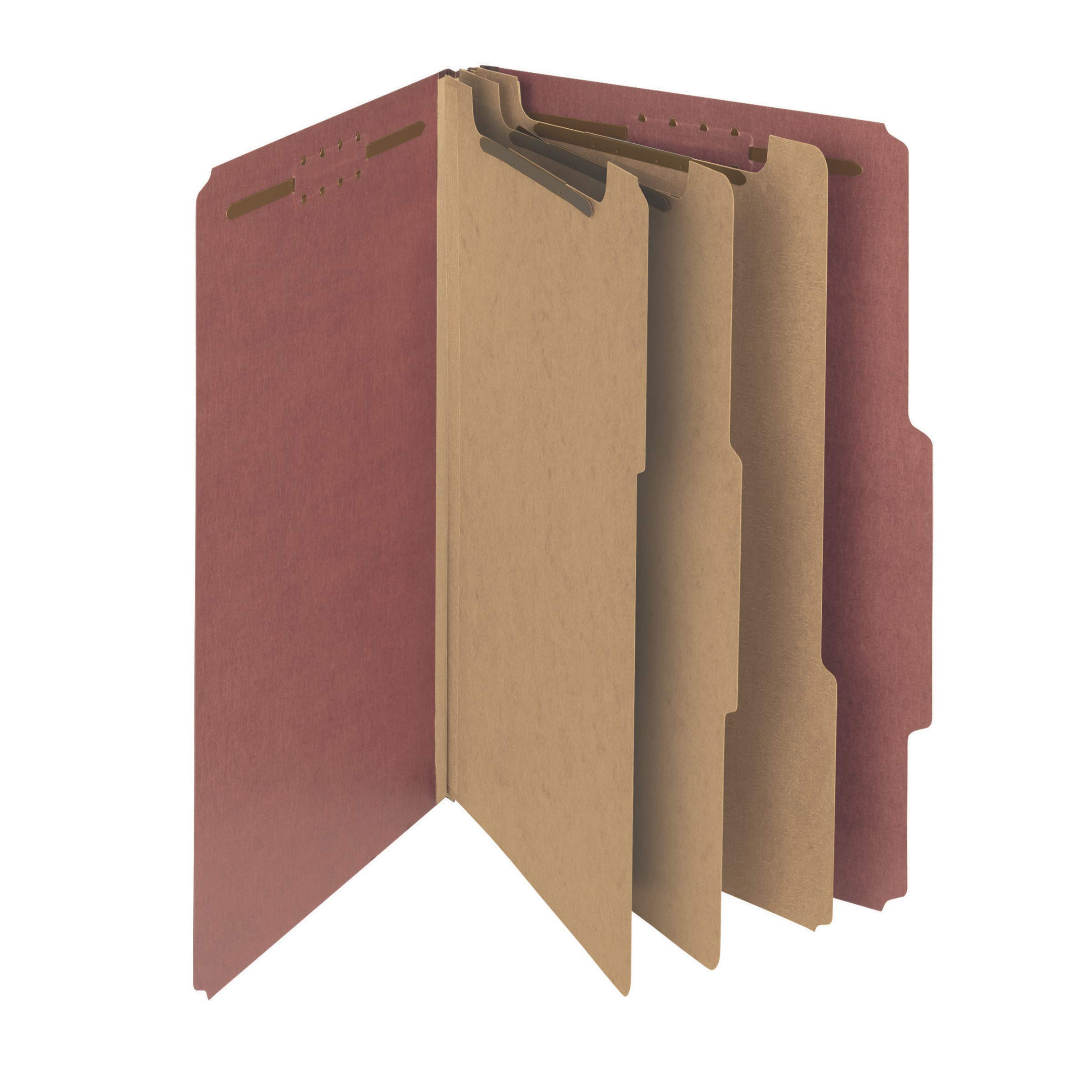 Smead 100% Recycled Pressboard Classification File Folder, 3 Dividers, 3'' Expansion, Legal Size, Red, 10 per Box (19099) by Smead