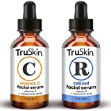 TruSkin Day-Night Anti Aging Duo, Retinol Serum & Vitamin C Serum for Face with Hyaluronic Acid, Skin Care Set Designed to Pr