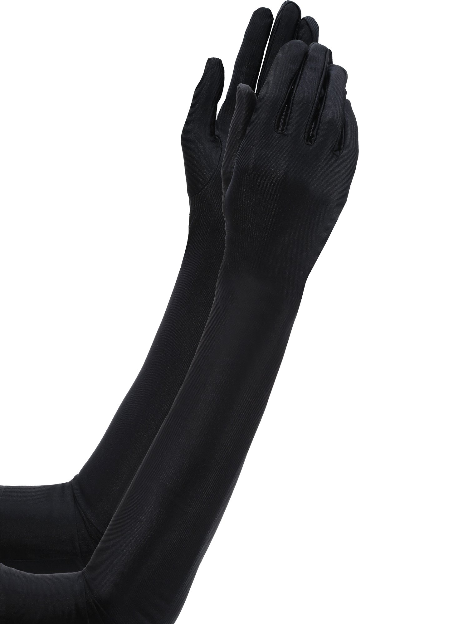 Jetec 3 Pair 1920s Opera Gloves Classic Long Satin Gloves Elbow Length 22 Inch Gloves Adult Size for Women and Girls (Black) by Jetec (Image #2)
