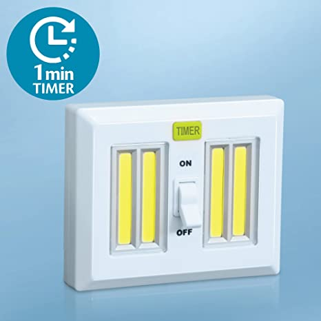 Gentil 4 Super Bright LED Light Switch With Timer   AA Battery Operated Night  Lights   Magnetic