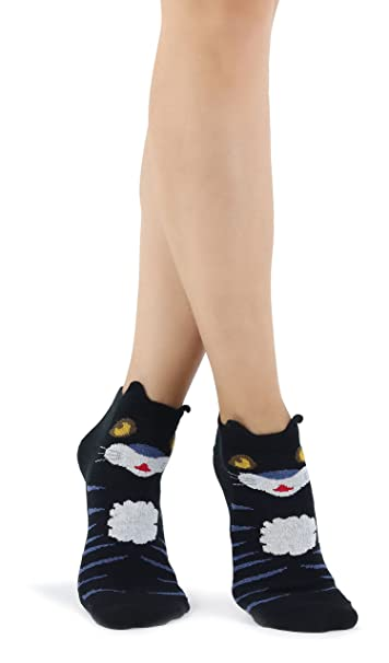 Calcetines negros con Happy Tiger Cat y orejas levantadas: Amazon.es: Ropa y accesorios