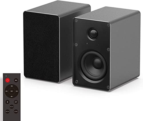 KEiiD Bookshelf Speaker, Bluetooth Stereo System with Aluminum Housing, TV Computer Speaker for Home Theater System, Studio Monitor Speaker with Optical AUX Input, for TV Turntable CD Player PC Laptop