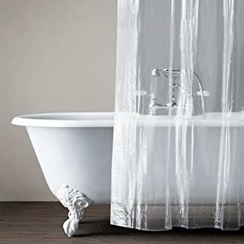 1.7 TIMES THICK Shower Curtain Liner Clear Mildew Resistant Bath Curtain  Liner Set With 12 Hooks