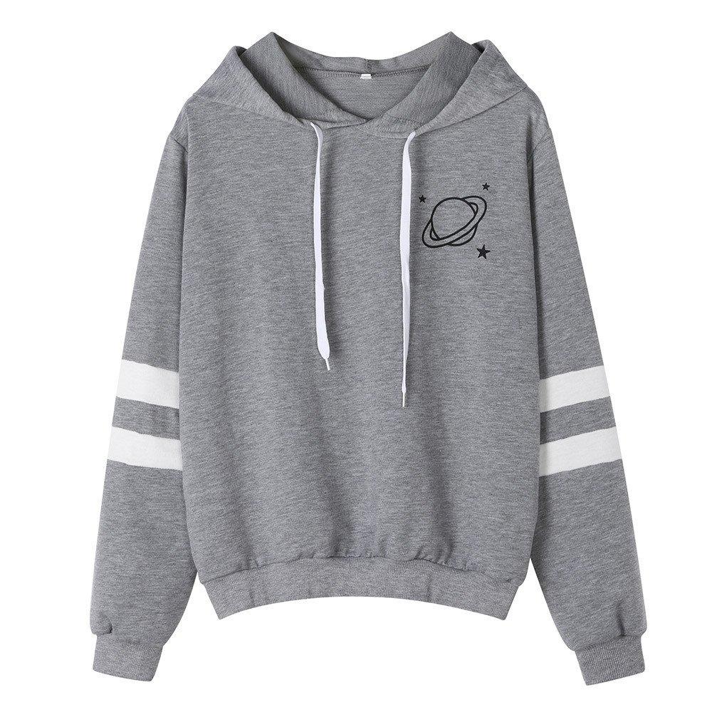 FEITONG Womens Long Sleeve Planet Printed Hooded Sweatshirt Causal Tops Blouse(S,Gray)