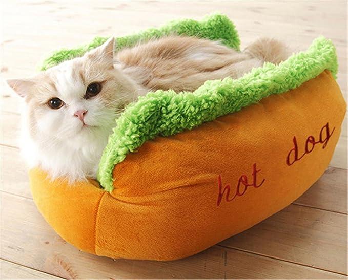 ZSY pet Hot Dog Cama del animal doméstico, colchón suave del gato del perrito, perrera lavable desmontable divertida divertida, con las esteras de bambú ...