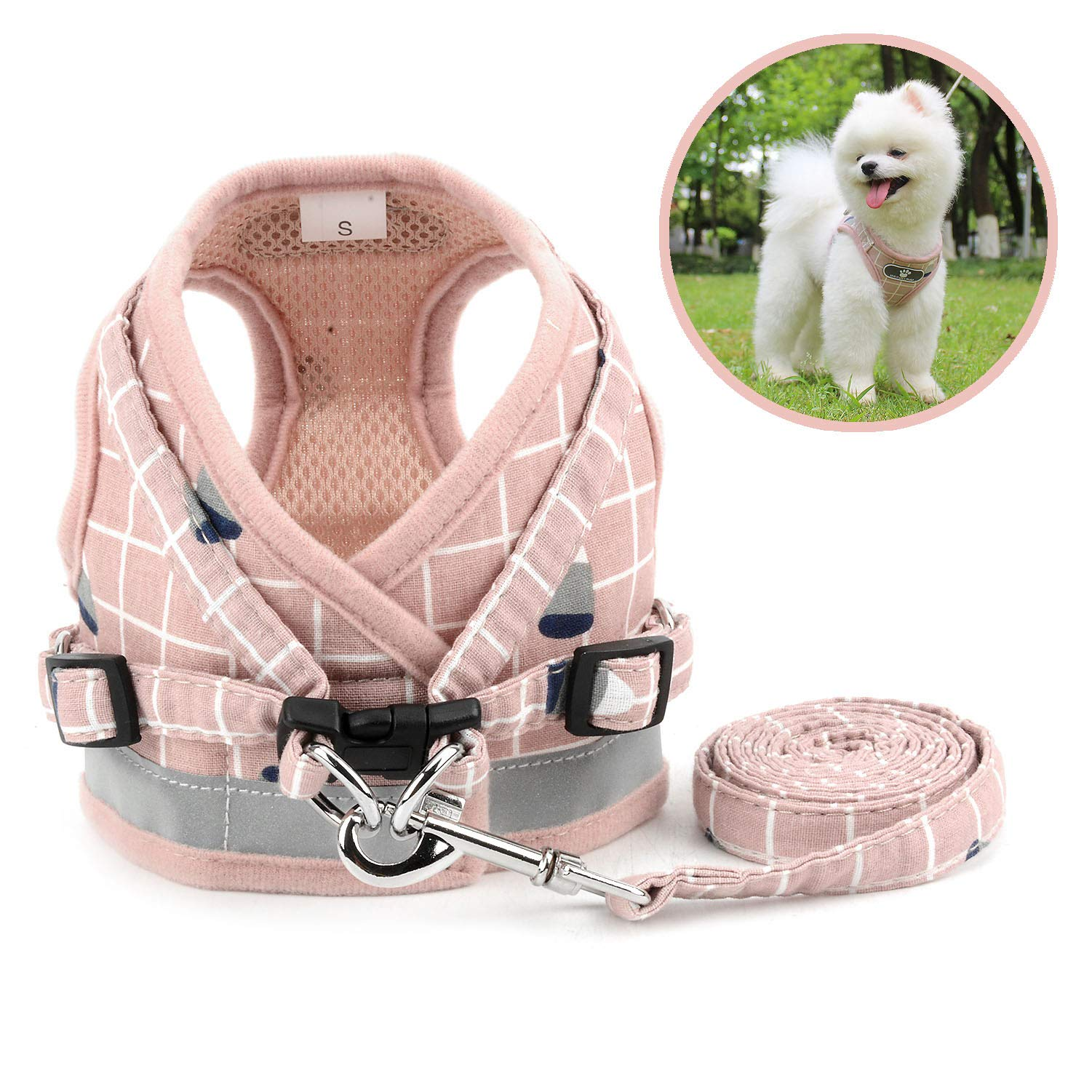 Zunea No Pull Small Dog Harness and Leash Set Adjustable Reflective Step-in Chihuahua Vest Harnesses Mesh Padded Plaid Escape Proof Walking Puppy Jacket for Boy Girl Pet Dogs Cats Pink XS