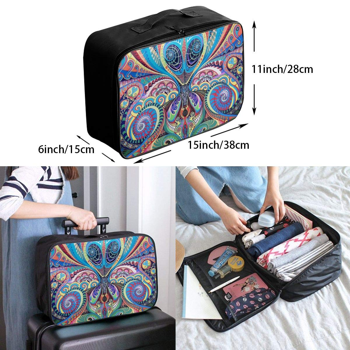 Psychedelic Trippy Art Travel Duffel Bag Waterproof Fashion Lightweight Large Capacity Portable Luggage Bag