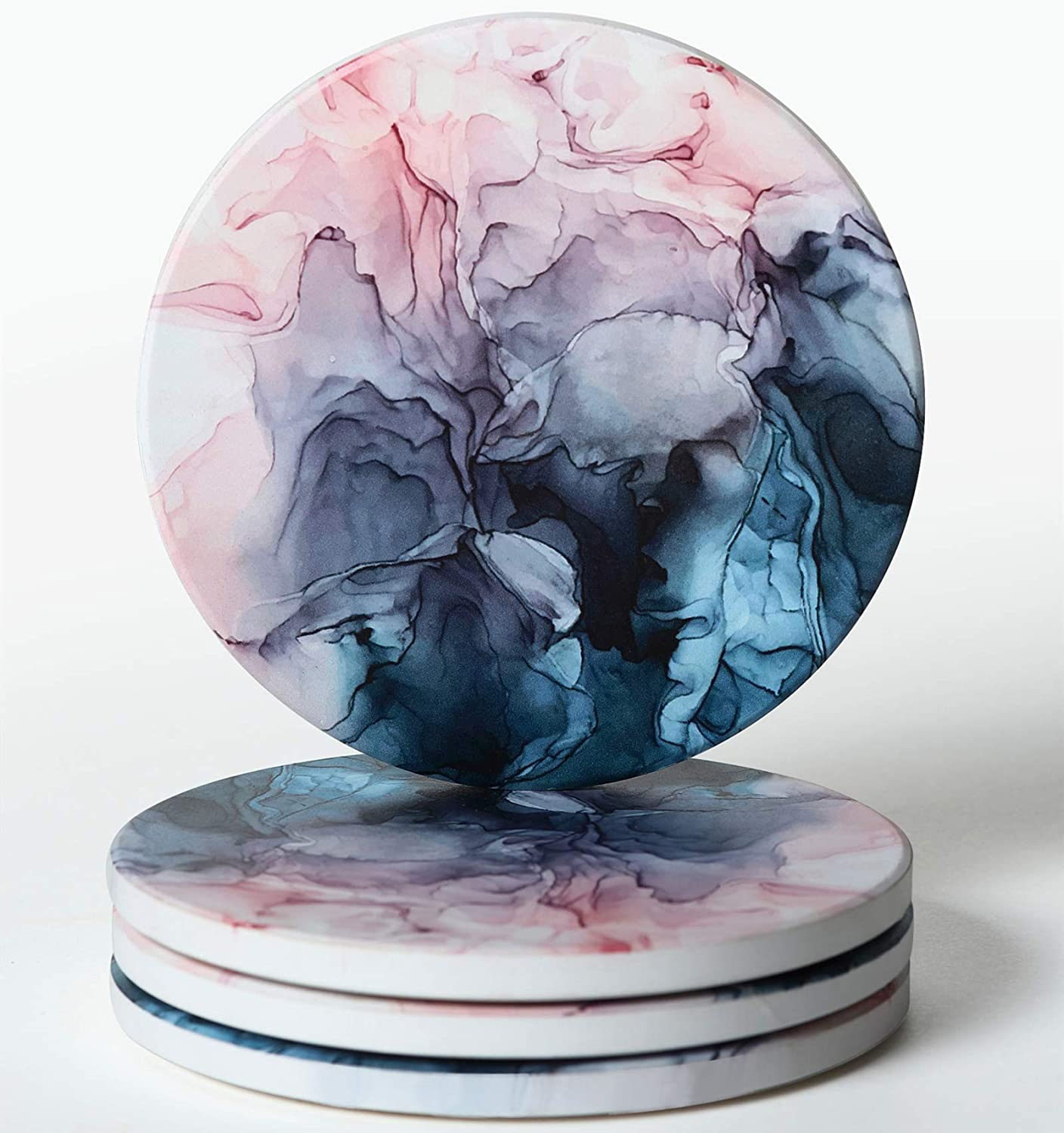 RoomTalks Pink Blue Marble Coasters for Drinks Absorbent 4 PCS Modern Ceramic Stone Coaster with Cork Back Unique Cute Coasters for Wooden/Coffee Table Housewarming Gift (Blush, 4 Pieces)