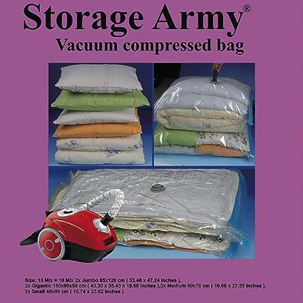 bb64219f7ed8 Storage Army [Pack of 10 MIX] Storage Bags Jumbo, Small, Medium, Gigantic  Sealed Compressed Garment Vacuum Bag Save Space Home Organizer Travel ...