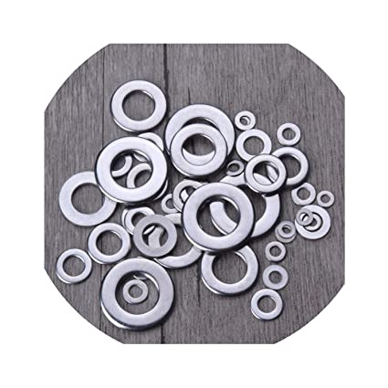 Size included: M2 M2.5 M3 M4 M5 M6 M8 M10 8-Size Hilitchi 640-Pcs 304 Stainless Steel Flat Flat Washer and Lock Washer Assortment Set