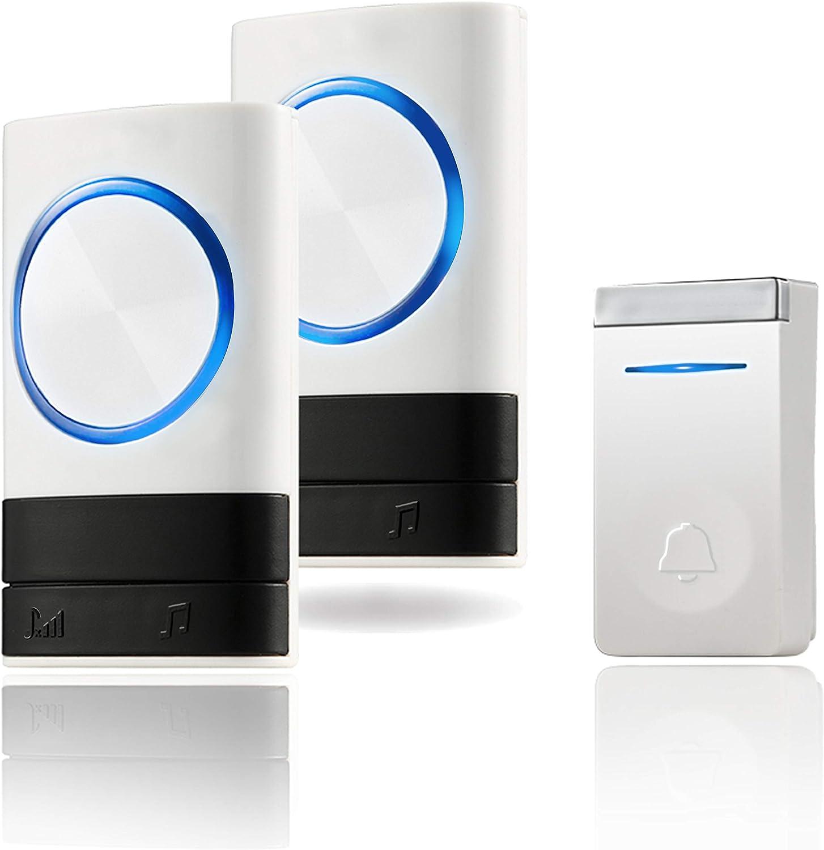 2 Receivers AVANTEK 1300 Feet Operating Range 1 Push Wireless Doorbell