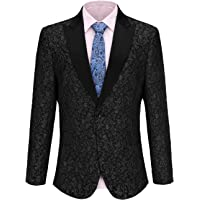 Fisoul Men's Slim Fit Shawl Lapel Casual One Button Formal Suits Coat Tuxedo Jacket Business Blazer