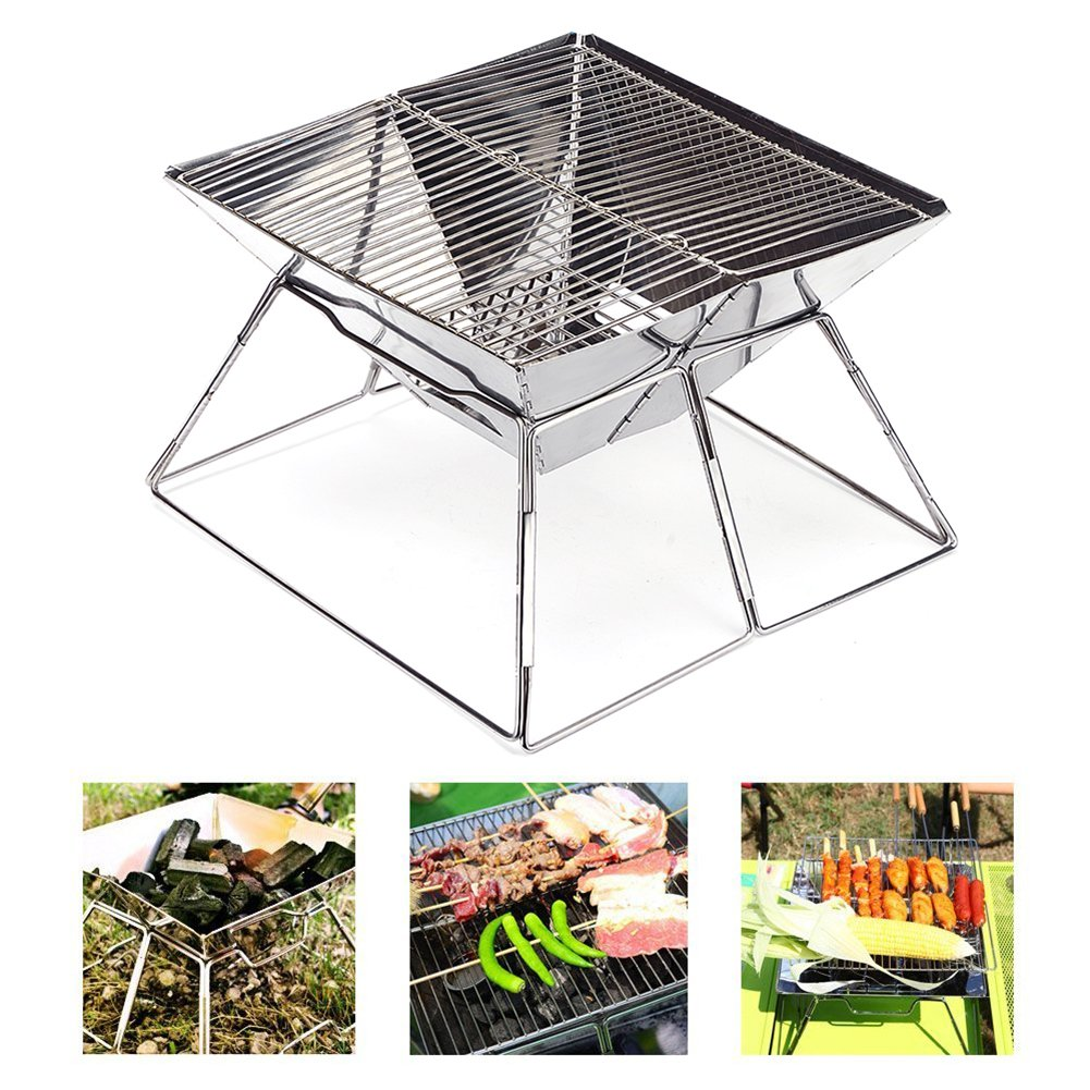 Quick Grill Medium: Original Folding Charcoal BBQ Grill Made from Stainless Steel. Portable and Great for Camping, Picnics, Backpacking, Backyards, Survival, Emergency Preparation. QGMED