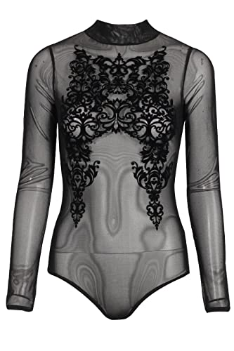 7 Fashion Road Inserti in maglia da donna a maniche lunghe in pizzo Flower stampa flock Body top Bod...
