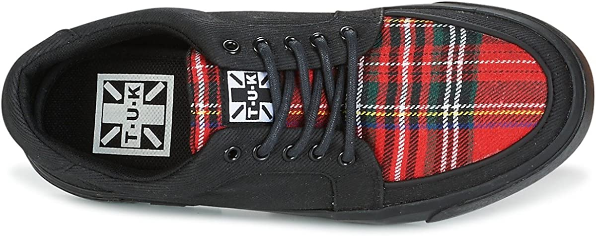 T.U.K Shoes Black /& Tartan Canvas VLK Creeper Sneaker