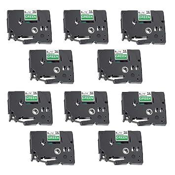 10 Casetes de Cinta compatibles con Brother TZe715 TZ715 Blanco sobre Verde 6mm x 8m para