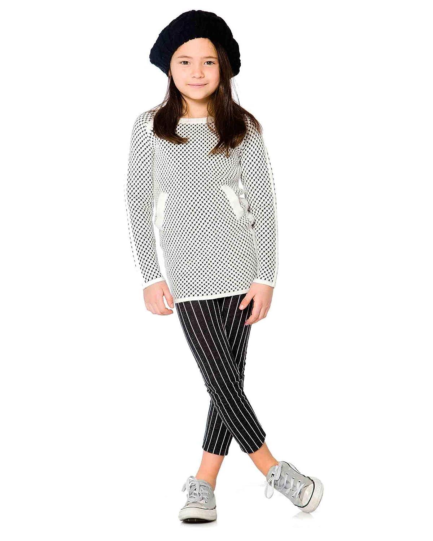 Sizes 6-12 Deux par Deux Girls Striped Leggings Black and White