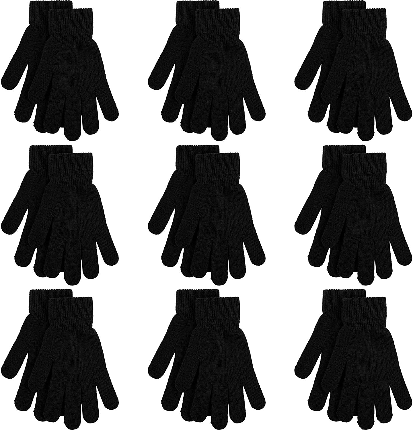 Cooraby 9 Pairs Winter Magic Gloves Adult Full Fingers Gloves Warm Stretchy Gloves for Men, Women or Teens
