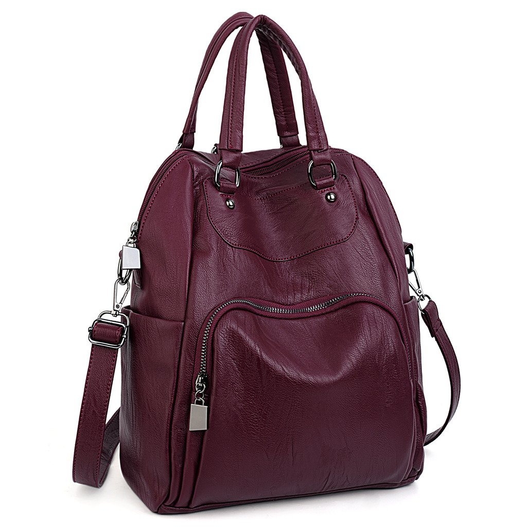 UTO Women Backpack Purse PU Washed Leather Convertible Ladies Rucksack Crossbody Shoulder Bag Red