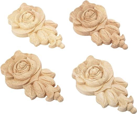 Rosa Estilo Europeo Madera tallada esquina Onlay dise/ño de puerta armario sin pintar transparente 2 unidades