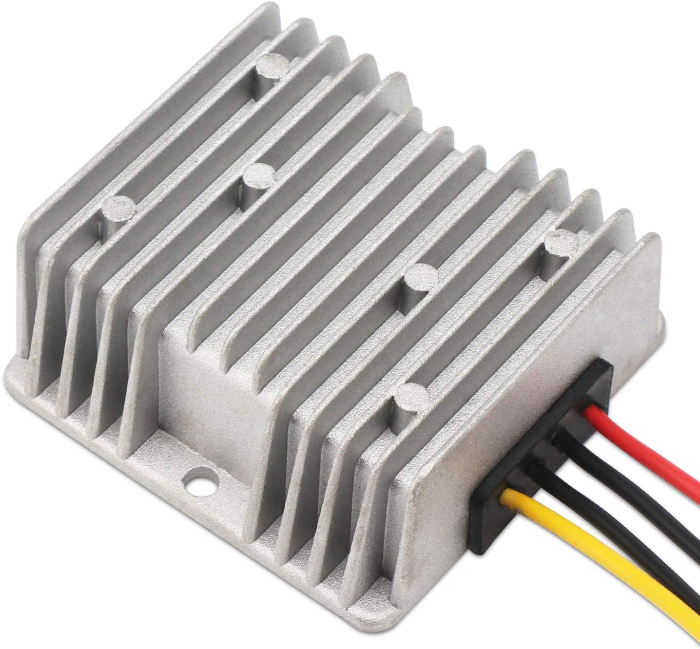 Down Voltage Regulator DROK Car Power Supply Step-Down Module DC 20-55V to DC 12V 10A 120W Waterproof Buck Converter Volt Transformer Reducer Board