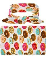 Winzik Newborn Baby Swaddle Blanket Doughnuts Flowers Printed Receiving Blanket with Headband Wrapped Towel Set