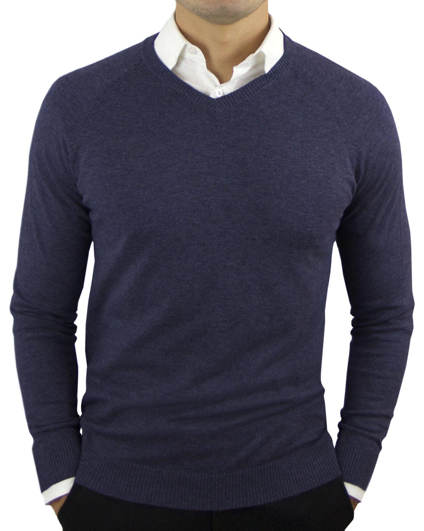 Comfortably Collared Men's Perfect Slim Fit V-Neck Sweater (Medium, Navy)