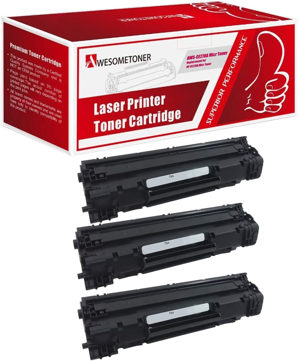Black, 3-Pack Awesometoner Compatible Toner Cartridge Replacement for HP CE278A MICR use with P1566 P1606dn P1606