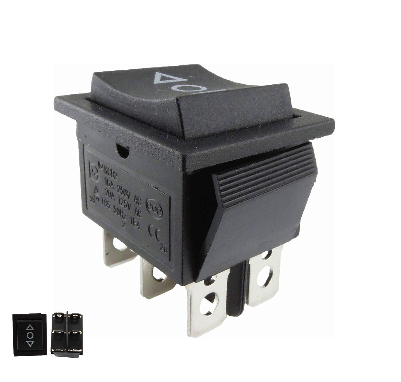 Interruptor basculante; pulsador ON/OFF/ON, abertura empotrada de aprox. 28,5 x 21,5 mm, color negro, también utilizable como reemplazo del cortacésped también utilizable como reemplazo del cortacésped TASTER