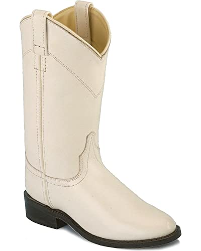 aae7cfe0572 Old West Ladies Leather Cowgirl / Roper Boots - White