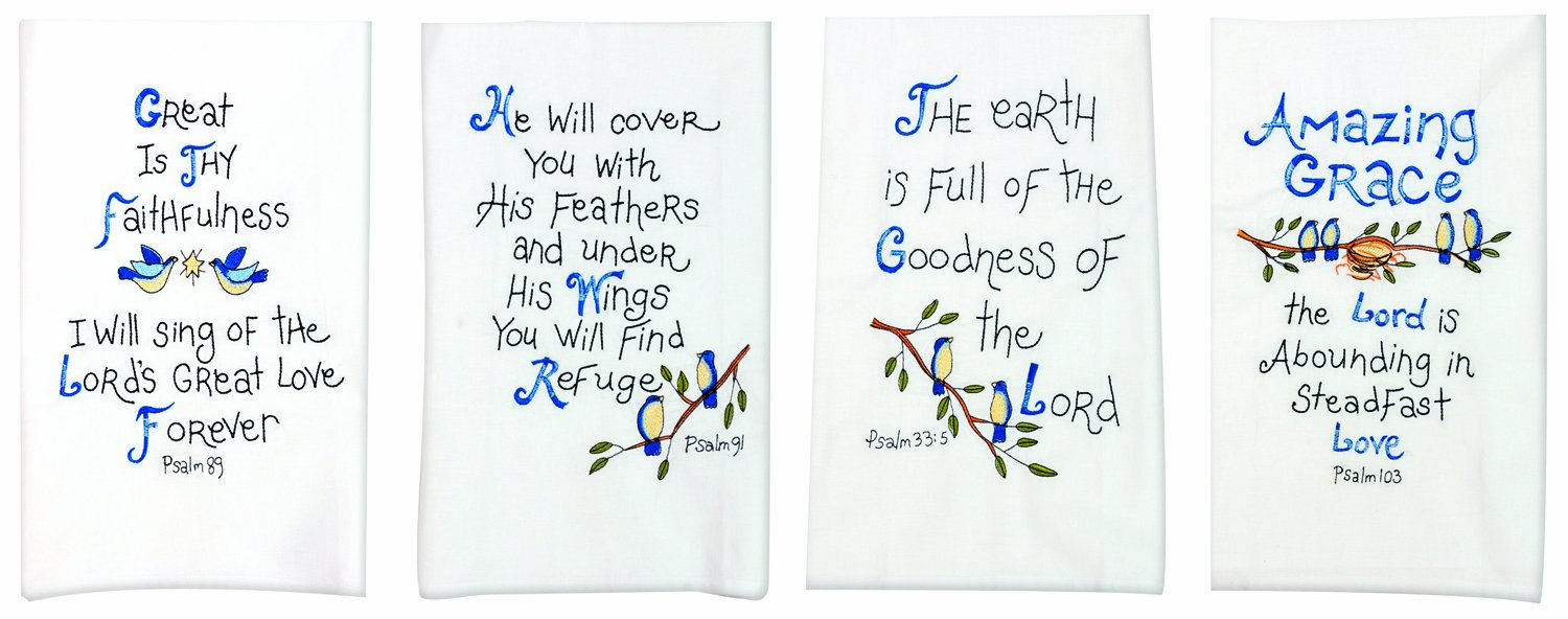 Manual Decorative Guest Towels, Psalms, Set of 4 by Manual Woodworker