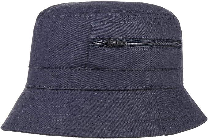 Hutshopping Fischerhut DamenHerren Aus Baumwolle Anglerhut mit eingenähter Tasche (Reißverschluss) Sommerhut als Sonnenschutz Farben blau,