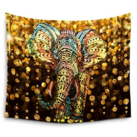 Amazoncom Mugod Elephant Tapestry Aztec Gold Elephant With Gold