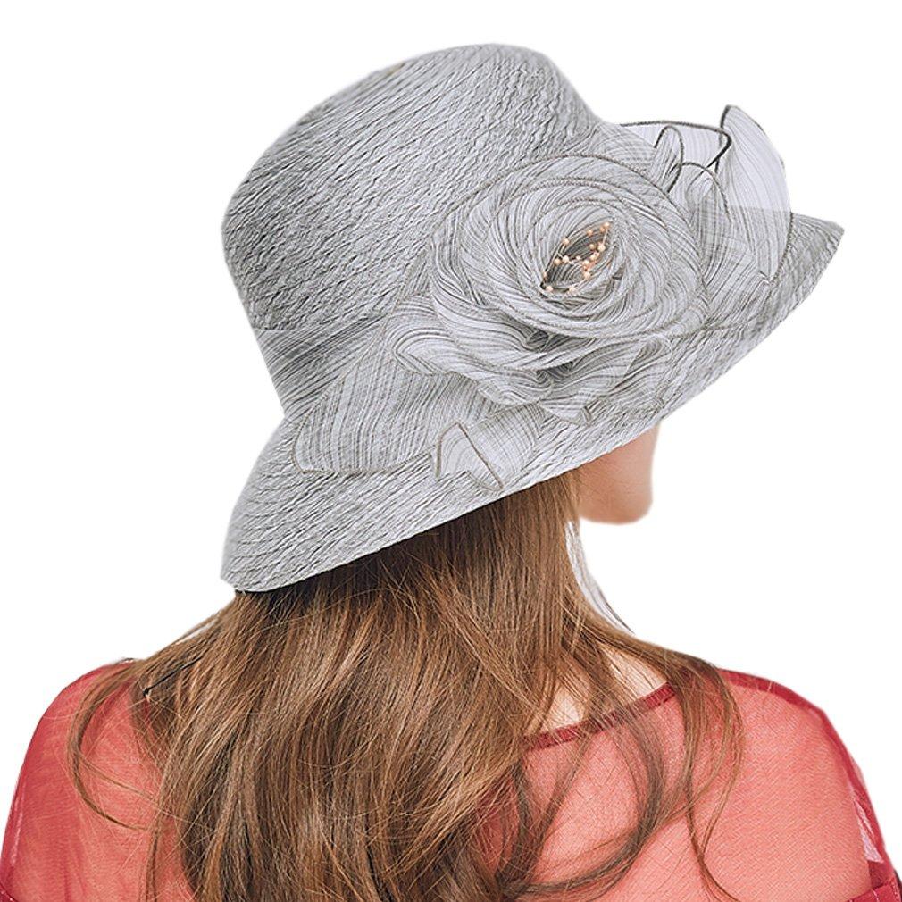 Nercap Women's Fascinator Tea Party Wedding Church Dress Kentucky Derby Hats Wide Brim Summer Cap (Light Grey)