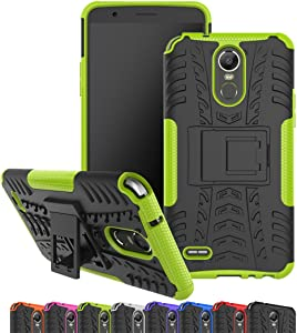 LG Stylo 3 Case, LG G Stylo 3 Plus Case, Viodolge [Shockproof] Hybrid Tough Rugged Dual Layer Protective Phone Case Cover with Kickstand for LG G Stylo 3/ LG Stylus 3(2017 Released) (Green)