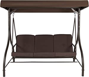 BELLEZE Outdoor Patio 3 Person Swing Bench/Bed Swing with Canopy Shade - Dark Brown