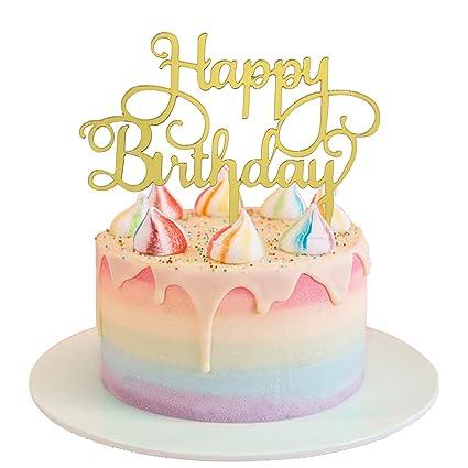 Amazon SGONE Gold Happy Birthday Cape Topper Monogram