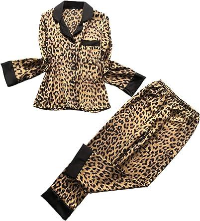 Conjunto de Pijama de Leopardo de Mujer Camisa de Manga Larga ...