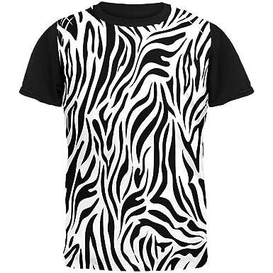 d41e8596 Amazon.com: Zebra Print White Adult Black Back T-Shirt: Clothing