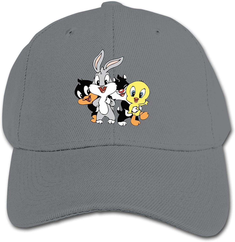 ETONKIDD Looney Tunes Children's Cotton Baseball Caps, Adjustable Hip-Hop Cap, Solid Color Baseball Cap Black