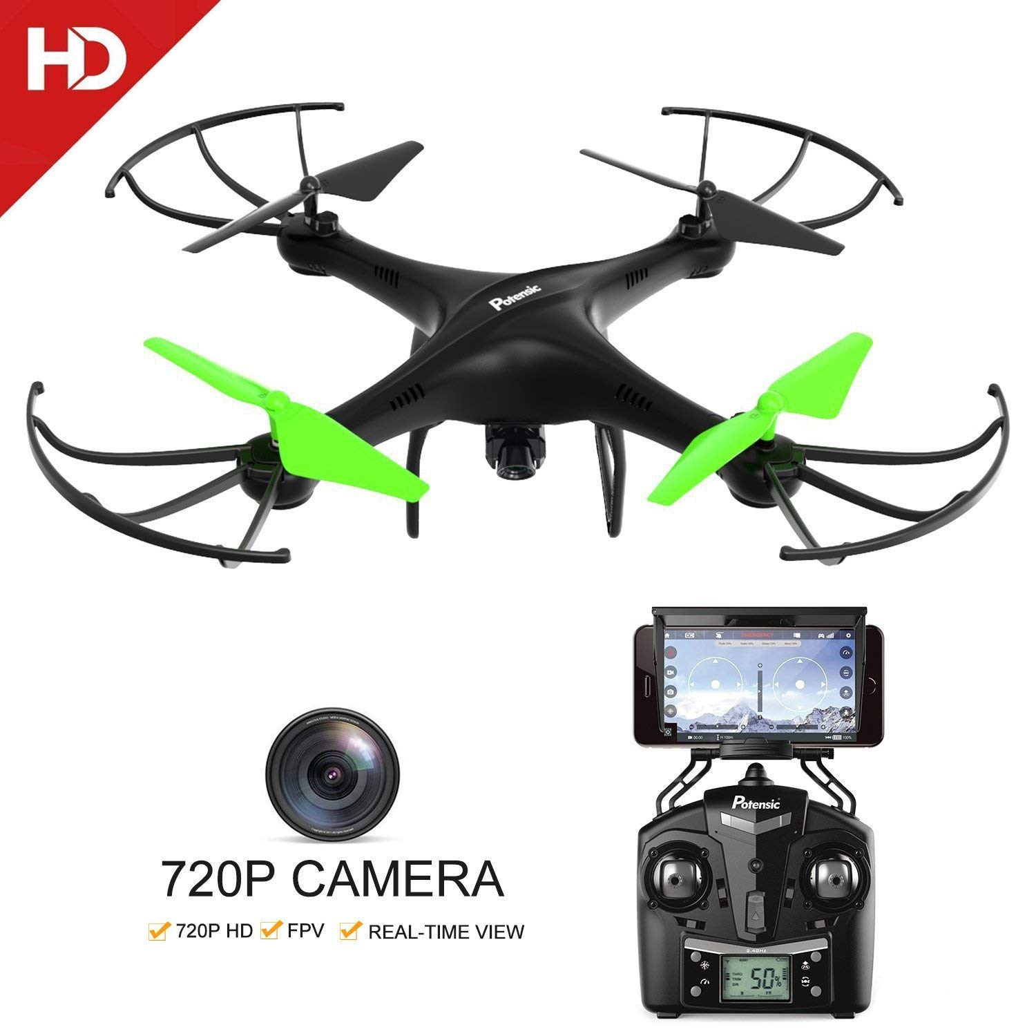 Potensic U48WH UDIRC RTF Drone Quadcopter UFO with Newest Altitude Hold Fuction&HD WiFi Camera and 3D Flips Function (TF Card & Card Reader Included)