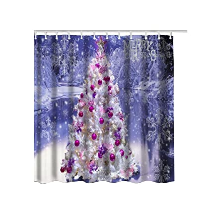 Appoi Christmas Shower Curtain Waterproof Polyester Bathroom Sets With Hooks 59x71inch B