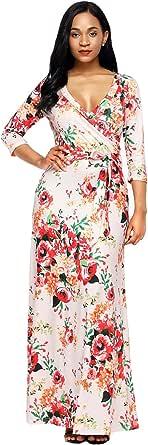 Maketina Floral Flower Print 3/4 Sleeve V Neck Wrapped Boho Fall Maxi Long Dress with Sash Belt