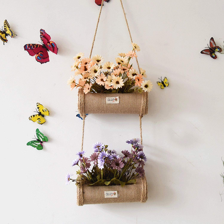 "2-Pack 12.5/""H Decorative Fabric Hanging Wall Flower Vases Burlap Snail Garden"