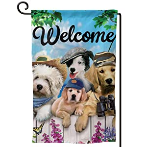 COWDIY Double-Sided Outdoor Garden Flag, Welcome Dog with Hat House Yard Flag, Weather Resistant Home Decorative Colorful Design Primitive Yard Decor for Patio Lawn 12.5 x 18 in